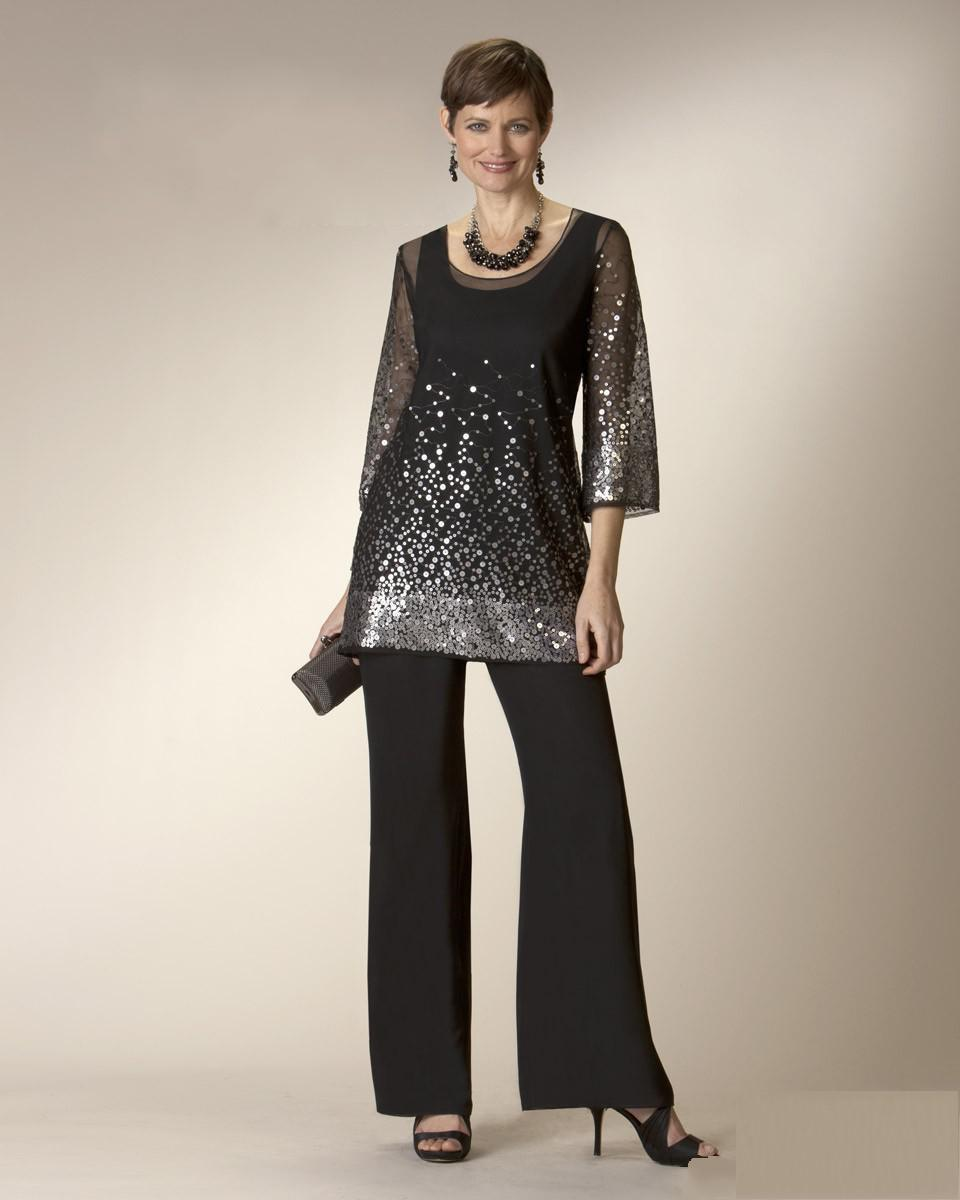 Glaring Black Twe Pieces Mother Of The Bride Dresses With Pant ...