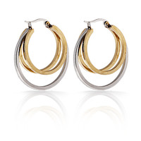 Wholesale Fashion Jewelry Stainless Titanium Steel Silver Smooth Hoop and Gold Wings Women s Hoop Earrings