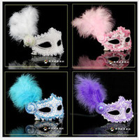 Sexy Lady Mask Woman Eye Masks Lace Feather Flower Halloween...