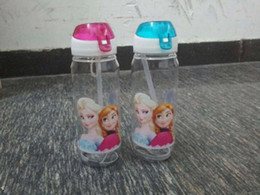 Wholesale 100pcs Frozen water bottles High Quality drinkware Frozen Anna and Elsa PP Texture Suction cups kids cartoon water bottle sports bottle