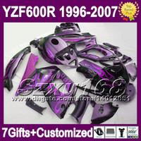 achat en gros de yzf 1996-7giftsTank corps Pour YAMAHA YZF600R 1996 1997 1998 1999 2000 Thundercat YZF 600R 2004 2005 2006 2007 flammes pourpres BLK SZ9165 Carénage