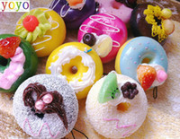 Wholesale cute NEW Squishy chunky donut Cell Phone Charm