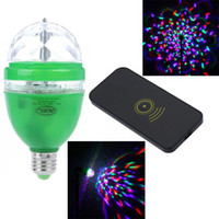 Wholesale 3W E27 V Full Color LED RGB Rotating Lamp disco DJ party Sound activated or Remote control stage light Bulb Home Party Decoration