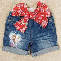 Cheap Girls denim shorts hot pants bow shorts girls frozen shorts jeans kids clothes summer kid clothing Nova brand G5590
