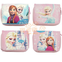 Wholesale 2014NEW Frozen Children Wallets Leather Christmas Present for Children or Cartoon Fans Elsa Anna Four Stamps to Choose Pink Purse Sold by Pi