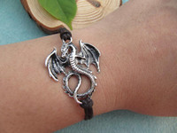 Wholesale 10pcs Viserion Rhaegal Drogon Dragon bracelet Game of Thrones Jewellery Daenerys Targaryen Khaleesi Inspired Mother Of Dragons bracelet