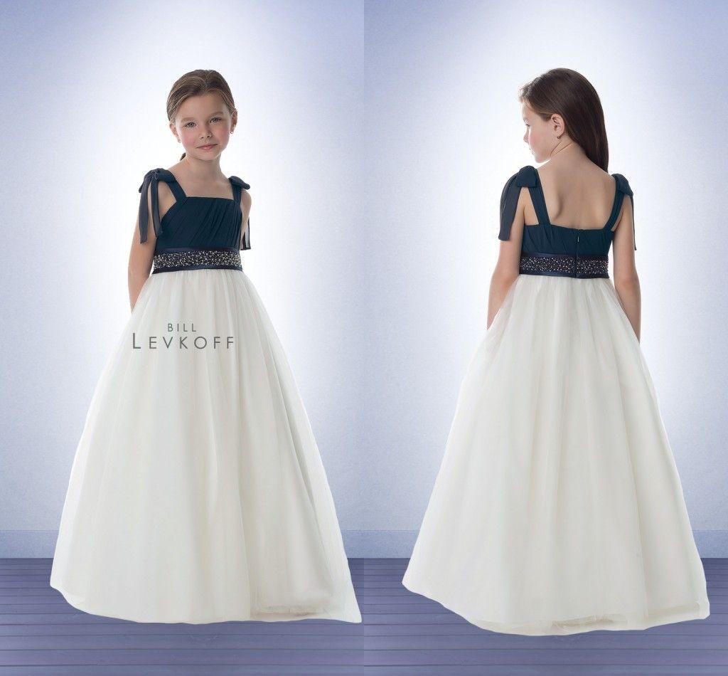 Chiffon Junior Bridesmaid Dresses Navy Blue And White