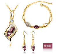 au gold element - K White Gold Plated Austrian Crystal Rhinestone Fashion Jewelry Sets Make With AU Elements colors