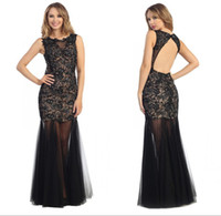 beaded fabric for dresses - Black Lace Fabric For Prom Dresses Sheer Crew Neck Cap Sleeve Full Length Beads Nude See Through Tulle Skirts Sexy Celebrity Evening Dresses