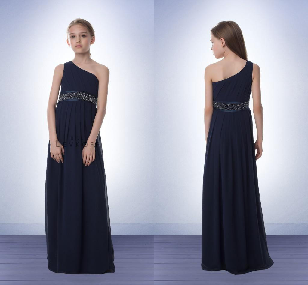 Chiffon Junior Bridesmaid Dresses Navy Blue One Shoulder Beaded ...