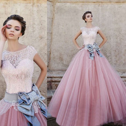 Wholesale Amazing Design Pink Ball Gown Wedding Dresses Cap Sleeve Jewel Neck Bow Satin Sash Beaded Lace Tulle Bridal Gowns Custom Made W414