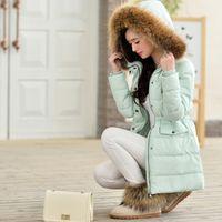 fur hooded jackets - 2014 new arrival winter women outwear coat large fur hooded pocket medium long slim warm thicken down jacket white duck filler YZ106