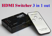 Wholesale 1080p Full HD Port to HDMI Switch Switcher IN OUT Hub with Remote Control Splitter Box for HDTV PS3 DVD