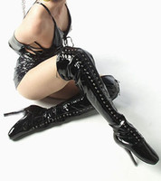 Wholesale 7 quot high gloss black ballet boots thigh high guys boots size