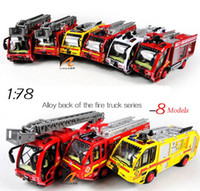 Wholesale 8 Models Alloy Back of the Fire Truck Series Diecast Cars Pull Back Sound Light Car Toy