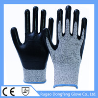 Wholesale 13 gauge nylon gloves with palm coated nitrile EN388 work gloves