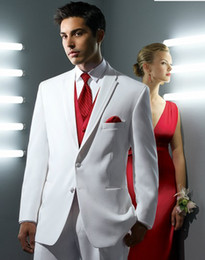 Wholesale Classic Style Two Buttons White Suits With Red Vest Groom Tuxedos Groomsmen Best Man Mens Wedding Suits Jacket Pants Vest Tie NO