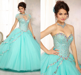Wholesale Luxury Quinceanera Dresses With Sheer Wraps Charming Colorful Crystals Ball Gown Prom Wedding Quinceanera Dress Custom Made