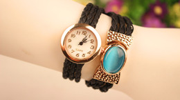 Women Wrap Watches Lady Leather Gem Wrist Watches Round Dial Charming Bracelets Watches Mix Colors Free Drop Shipping