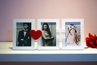 Wholesale Creative Photos Combination Picture Frame Heart Design White Wooden Family Photo Frames Set Wall Decals Desk Display