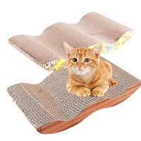 Wholesale Cat Scratcher Lounge Recycled Paper Cat Wave Corrugated Curl Curvy Two Surface Board Colors May Varies