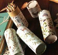 Wholesale New Vintage Time Darden Flowers deisgn DIY Multifunction color pencils Wooden color pencil set Kids gift