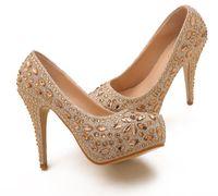 diamond wedding shoes - Luxury Crystal Diamond Gold Wedding Shoes High heeled Bridal Shoes Nightclub Performances Shoes Z899