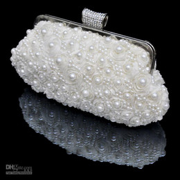 Wholesale Fashion White Flower Stunning Wedding Accessories pearls Floral Party Prom Hand bags Bridal Hand Bags Cheap In Stock