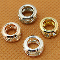 Wholesale 100pcs Crystal Rhinestone European Spacer Beads x10mm Roundell Gold Rose Gold Silver Imitation Rhodium Plated big Hole Beads