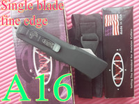 Wholesale Survival knife Microtech A16 OTF double action knife Single blade fine edge button in side camping knives with bylon bag box gift L
