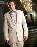 Custom Made New Groom Tuxedos Notch Lapel Groomsmen Men Wedd...
