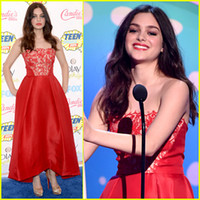 Cheap Real Images!! Custom 2014 Teen Choice Awards Strapless Red Tea Length Celebrity Dresses Pageant Prom Dress