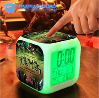 Wholesale 3D cartoon Teenage Mutant Ninja Turtles Minions Digital desk table Alarm clocks Elsa Anna daily alarms colors watch Clock Children gift