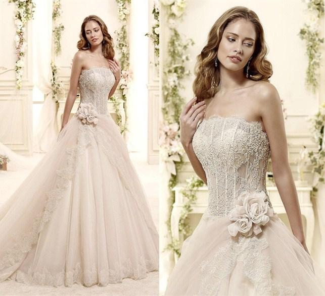 2015 Vintage Champagne Wedding Dresses Sheer Lace Strapless ...