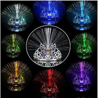 Wholesale Colorful Light Flash Dancing Party Headgear Butterfly Crown Fiber optic Headband