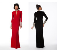 chinese crystal beads - New Cheap Long Evening Dresses With Sleeve Slot Crystal Beads Sheath Slim Formal Chinese Prom Dress Celebrity Party Red Carpet Gown