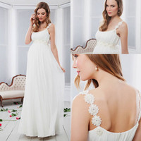 Wholesale 2014 New Maternity Wedding Dresses With Spaghetti Beads Backless Empire Floor Length Chiffon Simple Fashion Summer Beach Bridal Gowns