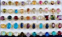 al por mayor mezcla del anillo de oro de la joyería de diseño-Anillos de boda magnífico Gran cristal de circón anillo novia gema del oro plateado mezcla de la joyería 30pcs Estilo Multi Mujeres Diseño personalizado / lot