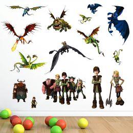 Wholesale Cartoon Train Wall Sticker - How to Train Your Dragon DIY Cartoon Wall Decal Sticker for Boy Kids Room Decor