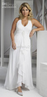 aurora sale - Plus Size Bridal Gown new design hot sale Beads Chiffon Halter Aurora D Paradiso white ivory custommade Wedding Dresses