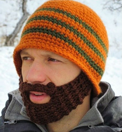 Discount wholesale knitted cashmere hat Hats Beanie Skull Caps Bearded Wool Knitted Hats Beard Knitted Hat Warmer Ski Bike Skull Hat Unisex Men Beard Cap Christmas Gifts HOT 20pcs