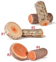 Bon Marché Maisons en rondins de bois-Drop Shiping Simulation créative élevée Green Log Bois Grain Throw Style en bois Oreiller Home Car Decorate Coussin de siège pour se pencher sur