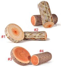 Drop Shiping Simulation créative élevée Green Log Bois Grain Throw Style en bois Oreiller Home Car Decorate Coussin de siège pour se pencher sur à partir de maisons en rondins de bois fabricateur