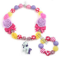 horse jewelry - Fashion Jewelry Sets Cartoon Horse Pendants Kids Necklace and Bracelet Colorful Beads DIY for Clothing Decoration