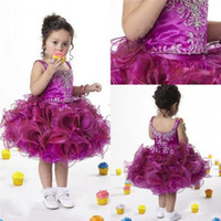 Cheap 2014 Classical Purple Flower Girls' Dresses Organza Applique Beaded Tiered Piping Scoop Sleeveless Hot Girls Pageant Gowns Made In China ZX
