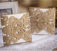 Wholesale Free Customized Laser Cut Lace Floral Wedding Invitation Card Invite with Envelopes and Seals