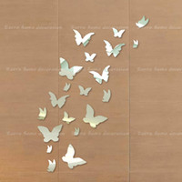 Cheap Free shipping 20 butterfly combination of 3D mirror surface wall sticker household decorates sitting room crystal sticker