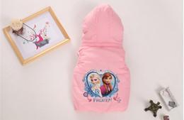Wholesale Autumn Winter Frozen Children Waistcoat Zipper Hoodies Add Pure Cotton Cartoon Baby Vest Coat Candy Colour Age Kids Waistcoat WD238