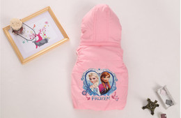 Wholesale Autumn Winter Frozen Children Waistcoat Zipper Hoodies Add Pure Cotton Cartoon Baby Vest Coat Candy Colour Age Kids Waistcoat WD238