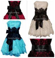 Wholesale 2012 Hot Sale Strapless Bustier Contrast Lace and Crinoline Ruffle Prom Mini Dress Junior Plus Size